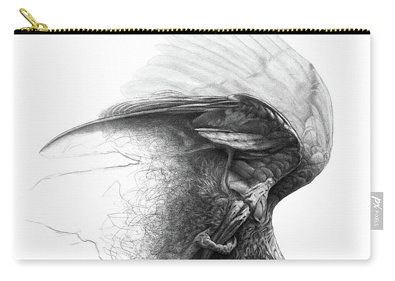 Parrot Carry-all Pouch featuring the drawing The Parrot by Christian Klute