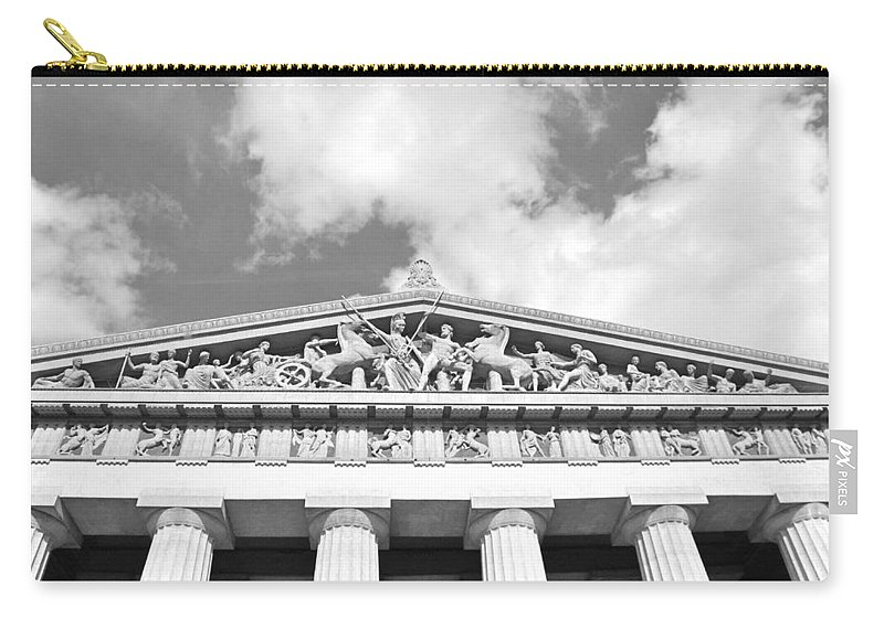 The Parthenon In Nashville Tennessee Black And White 2 Carry-all Pouch featuring the photograph The Parthenon In Nashville Tennessee Black And White 2 by Lisa Wooten