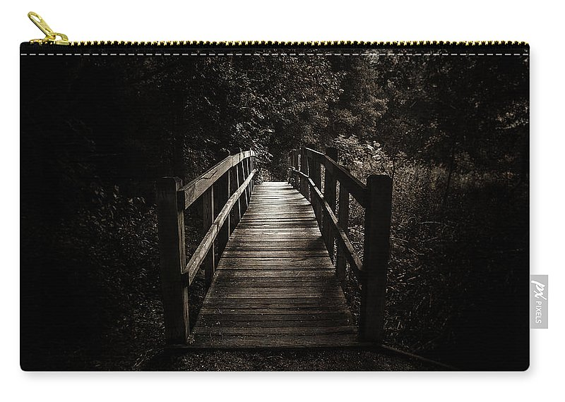 Black And White Carry-all Pouch featuring the photograph The Path Between Darkness And Light by Scott Norris