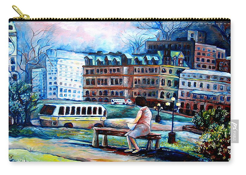 Ottawa Peace Tower City Scenes Carry-all Pouch featuring the painting The Peace Tower In Ottawa by Carole Spandau