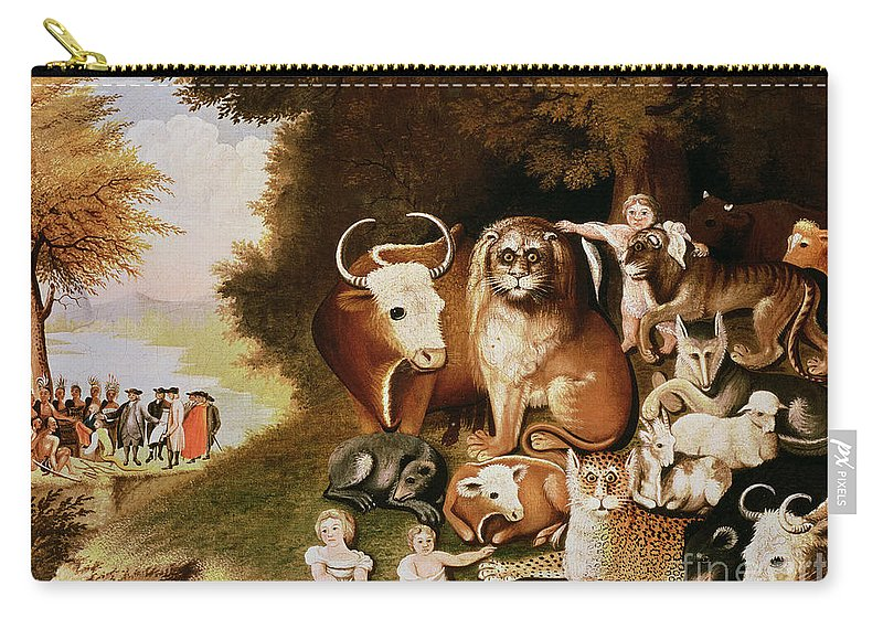 The Carry-all Pouch featuring the painting The Peaceable Kingdom by Edward Hicks