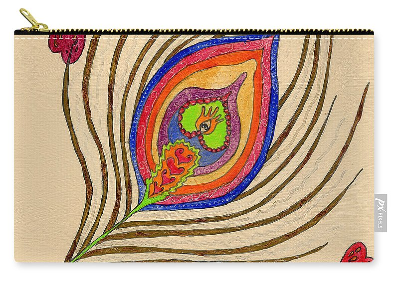 Peacock Carry-all Pouch featuring the painting The Peacock by Portraits By NC