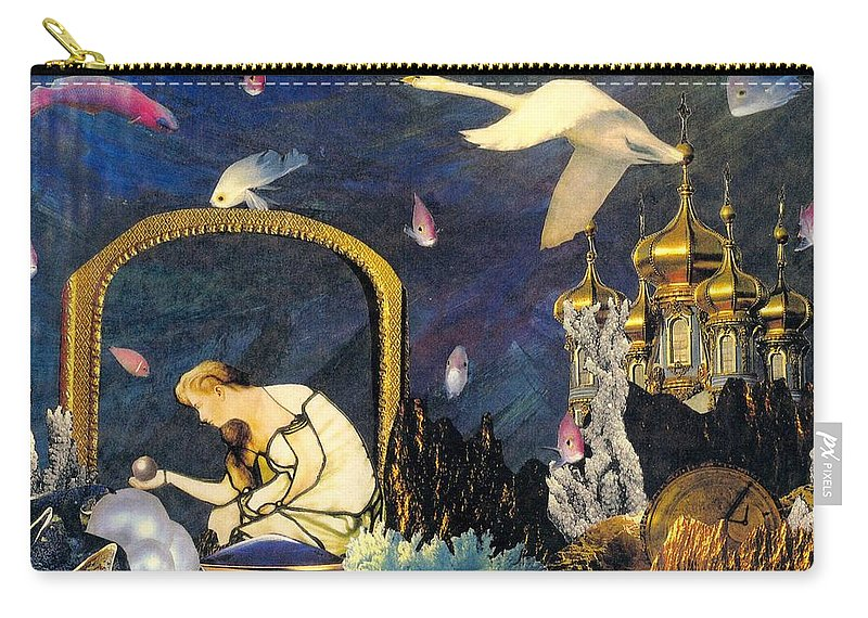 Surealism Carry-all Pouch featuring the mixed media The Pearl Of Great Price by Gail Kirtz
