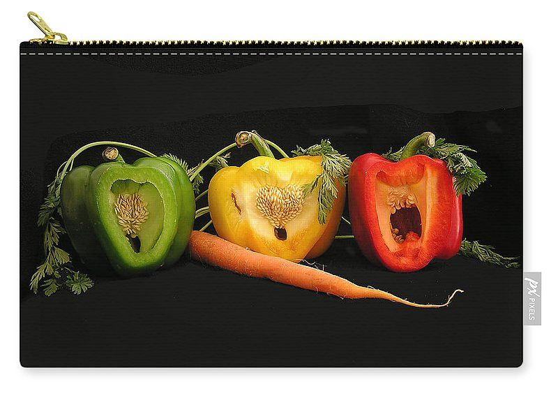 Pepper Carry-all Pouch featuring the photograph The Pepper Trio by Carol Milisen