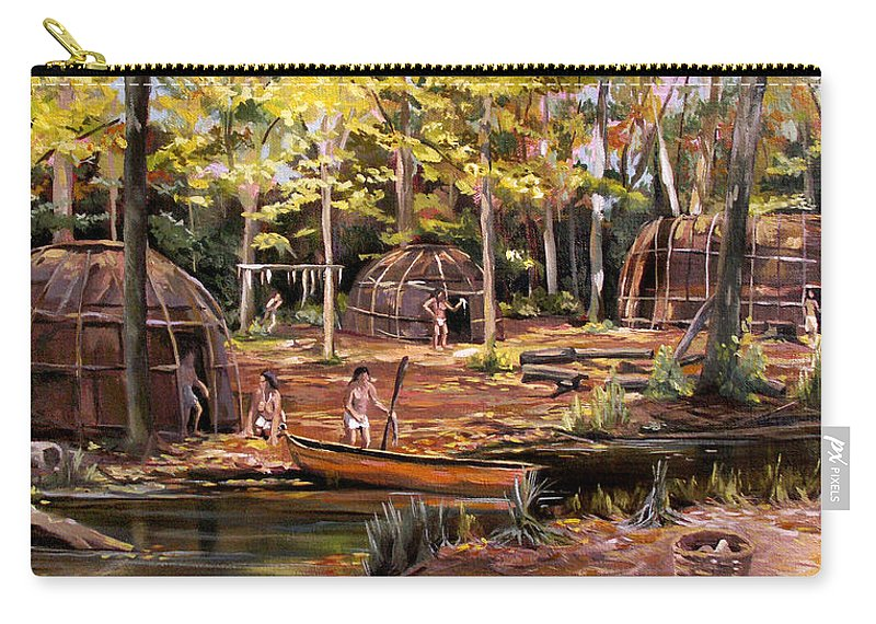 Institute Of American Indian Carry-all Pouch featuring the painting The Pequots by Nancy Griswold