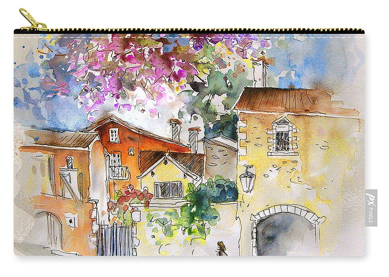 France Paintings Carry-all Pouch featuring the painting The Perigord In France by Miki De Goodaboom