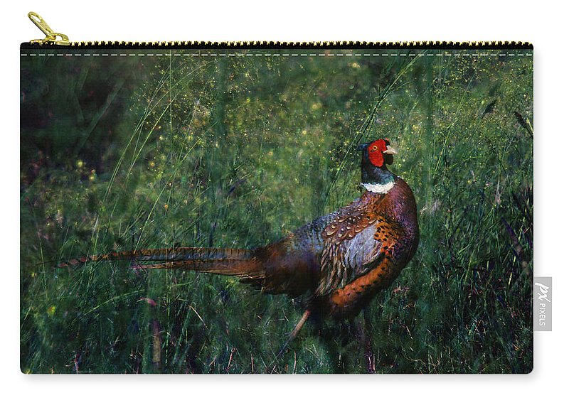Pheasant Carry-all Pouch featuring the photograph The Pheasant In The Autumn Colors by Angel Ciesniarska