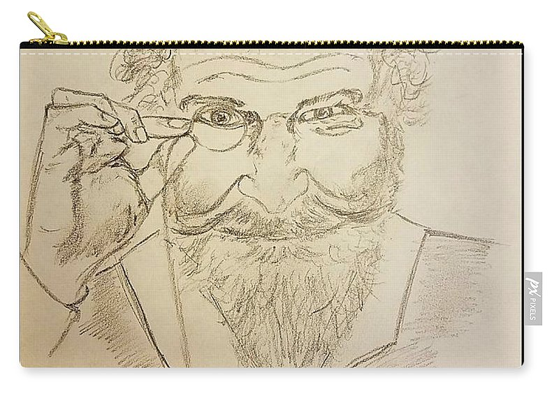 Man Carry-all Pouch featuring the drawing The Philosopher by Richard Howell