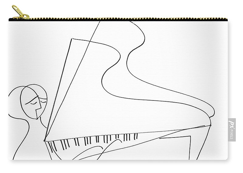 Piano Carry-all Pouch featuring the drawing The Pianist by Lenore Vardi