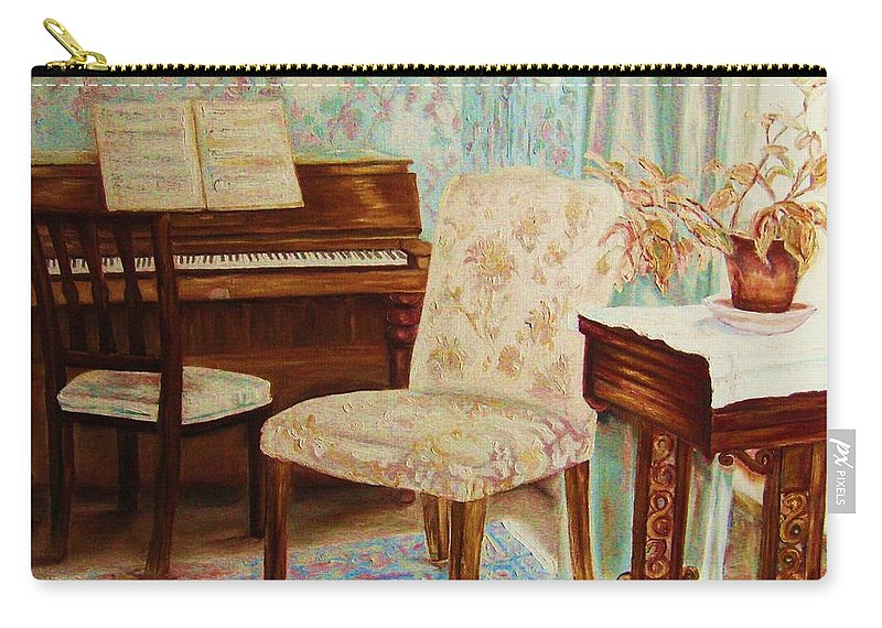 Iimpressionism Carry-all Pouch featuring the painting The Piano Room by Carole Spandau