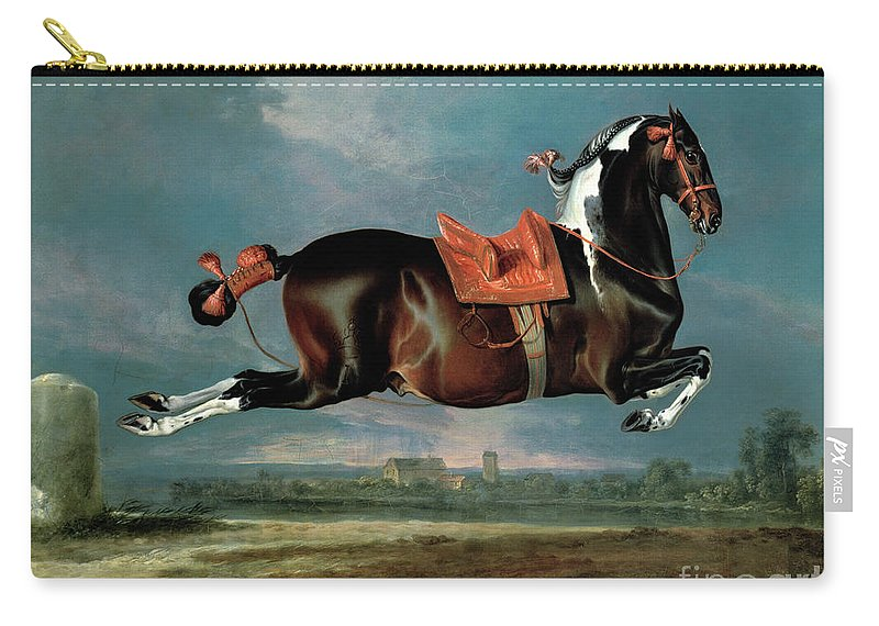 The Carry-all Pouch featuring the painting The Piebald Horse by Johann Georg Hamilton