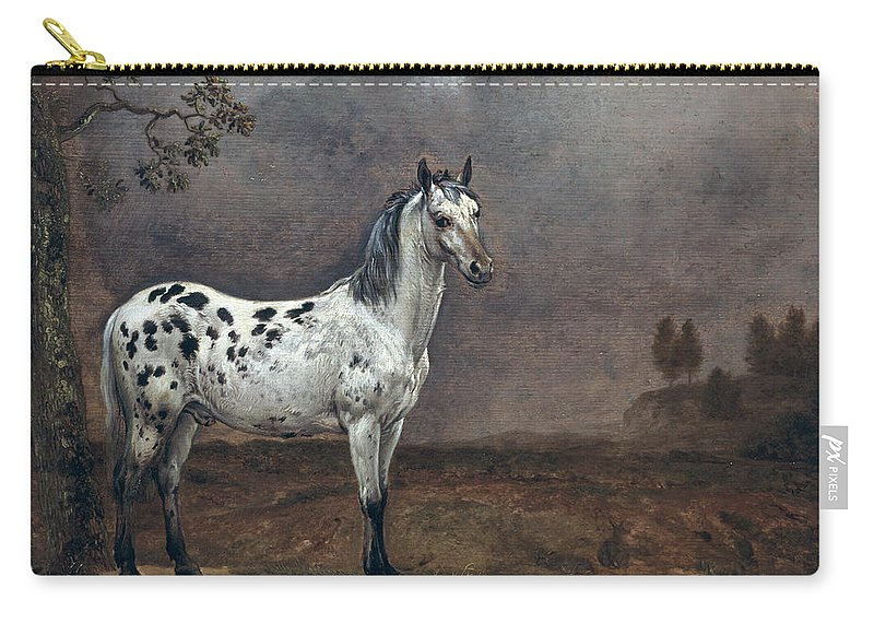 The Carry-all Pouch featuring the painting The Piebald Horse by Paulus Potter