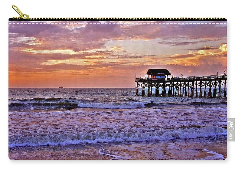 Sunset Carry-all Pouch featuring the photograph The Pier by Scott Mahon