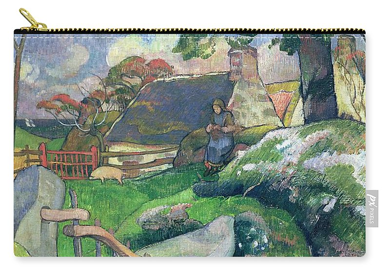 The Wooden Gate Or Carry-all Pouch featuring the painting The Pig Keeper by Paul Gauguin