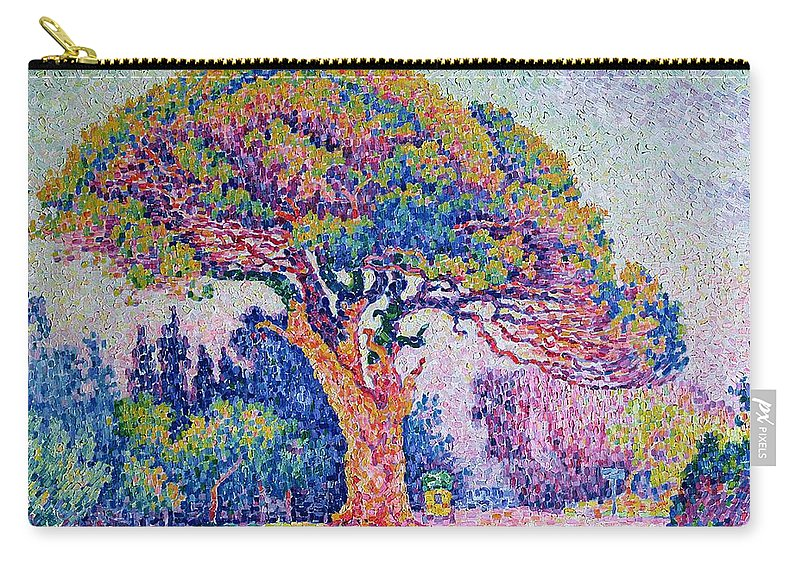 The Pine Tree At St. Tropez Carry-all Pouch featuring the painting The Pine Tree At Saint Tropez by Paul Signac