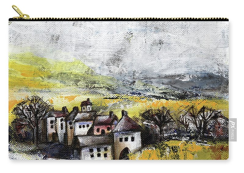 Landscape Carry-all Pouch featuring the painting The Pink House by Aniko Hencz