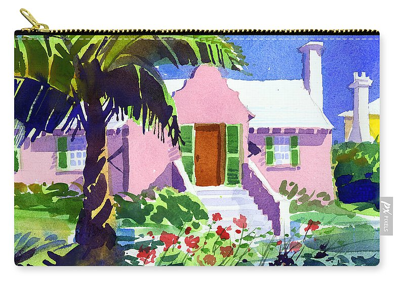 Bermuda Carry-all Pouch featuring the painting The Pink Palace by Lee Klingenberg