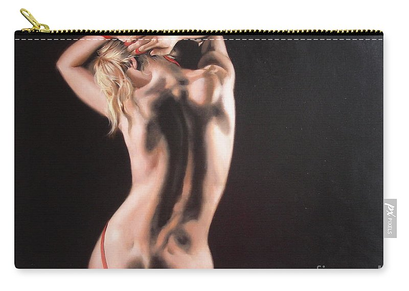 Art Carry-all Pouch featuring the painting The Play With Red Ribbon by Sergey Ignatenko