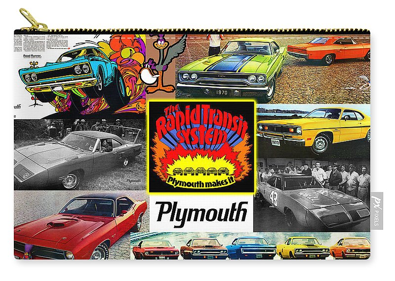 The Carry-all Pouch featuring the digital art The Plymouth Rapid Transit System Collage by Digital Repro Depot