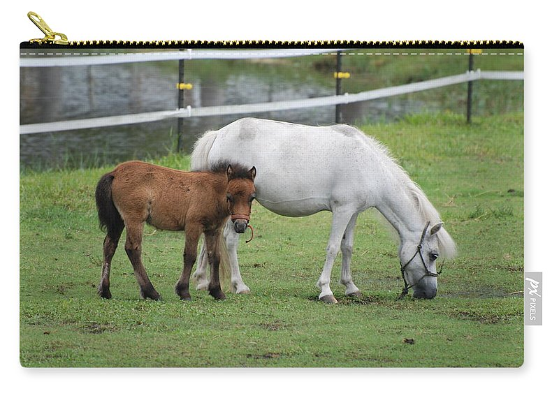 Horse Carry-all Pouch featuring the photograph The Ponys by Rob Hans