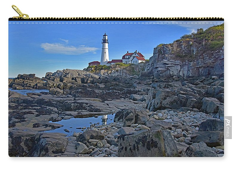 Landscapes Carry-all Pouch featuring the photograph The Portland Lighthouse by Mary Lisa photography