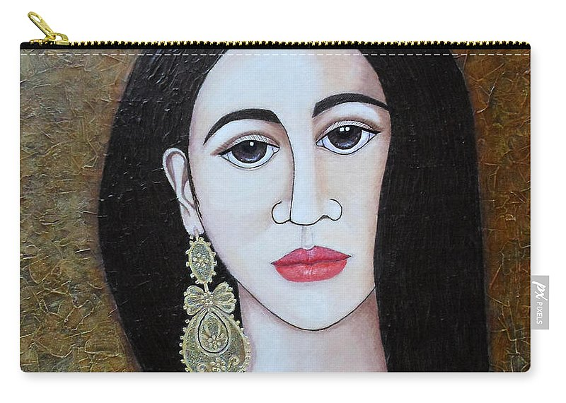 Woman Carry-all Pouch featuring the painting The Portuguese Earring 2 by Madalena Lobao-Tello