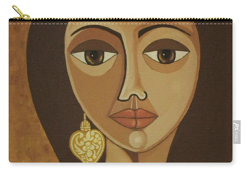 Portuguese Carry-all Pouch featuring the painting The Portuguese Earring by Madalena Lobao-Tello