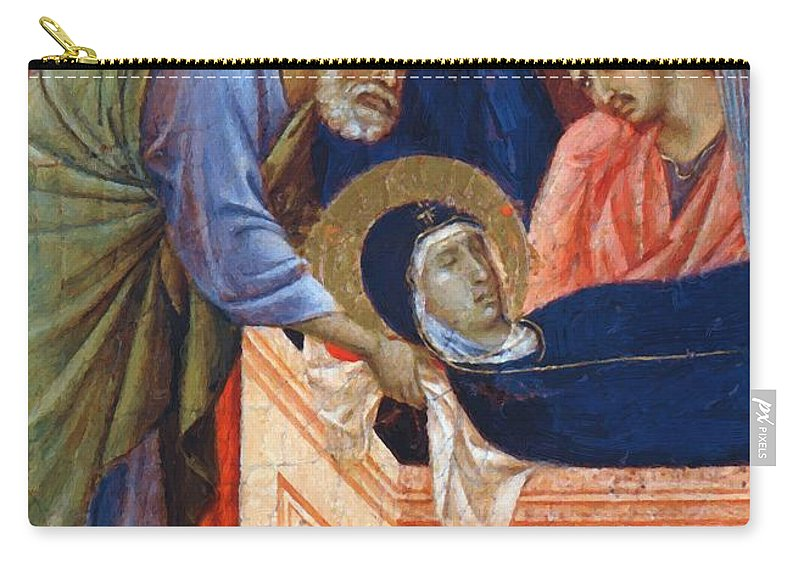 The Carry-all Pouch featuring the painting The Position Of Mary In The Tomb Fragment 1311 by Duccio