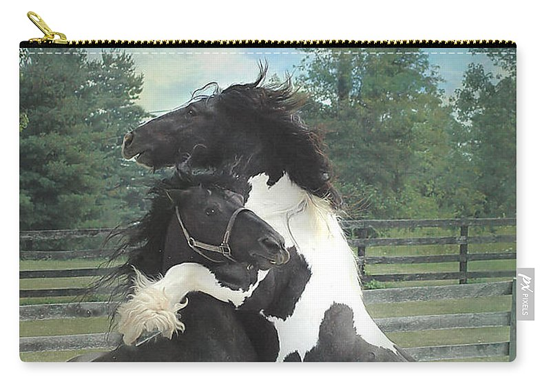 Horses Carry-all Pouch featuring the photograph The Posturing Game by Fran J Scott