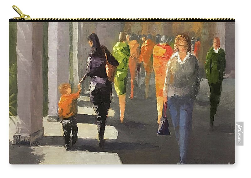 Oilpainting Carry-all Pouch featuring the painting The Promenade by Leah Wiedemer