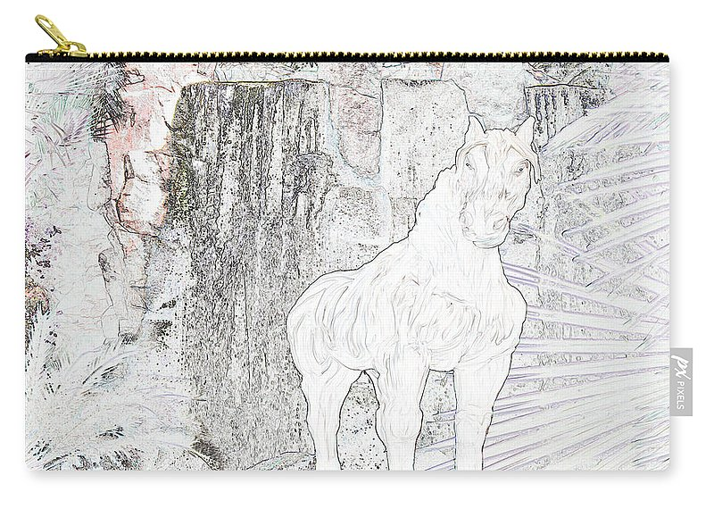 Waterfall Horse Horses Stallion Jungle Forest Scenery Trees Fantasy Carry-all Pouch featuring the photograph The Protector by Andrea Lawrence