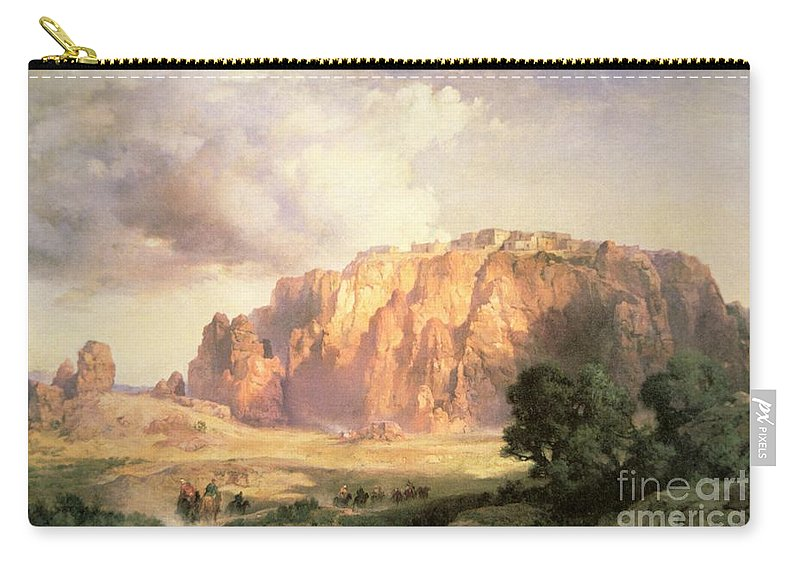 The Pueblo Of Acoma Carry-all Pouch featuring the painting The Pueblo Of Acoma In New Mexico by Thomas Moran