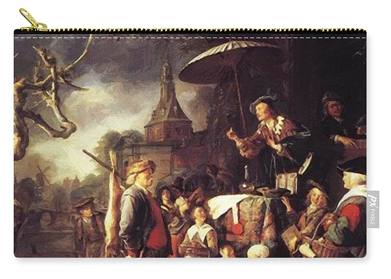 The Carry-all Pouch featuring the painting The Quack 1652 by Dou Gerrit