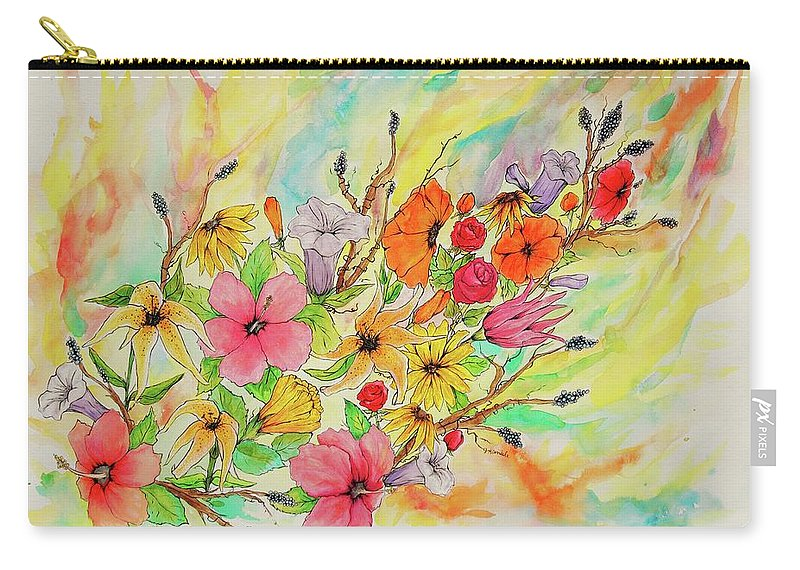 Queen Carry-all Pouch featuring the drawing The Queens Garden by Jenny Kimble
