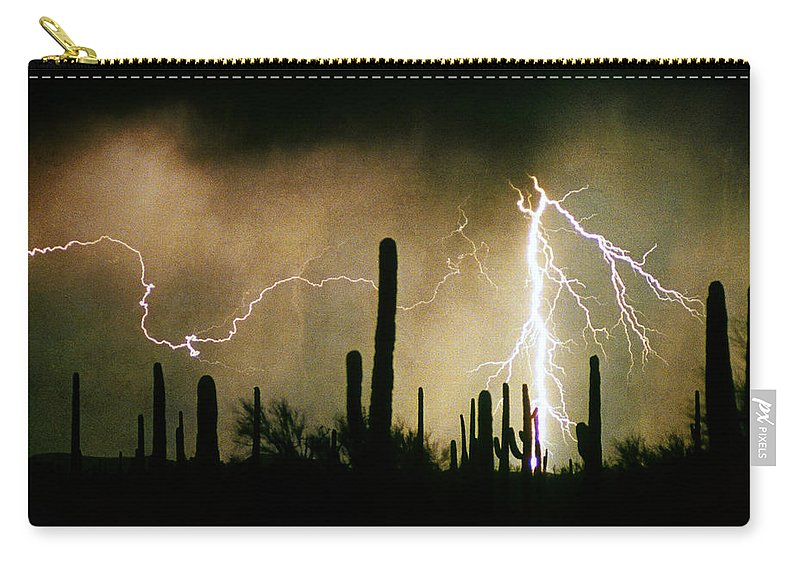 Lightning Carry-all Pouch featuring the photograph The Quiet Southwest Desert Lightning Storm by James BO Insogna