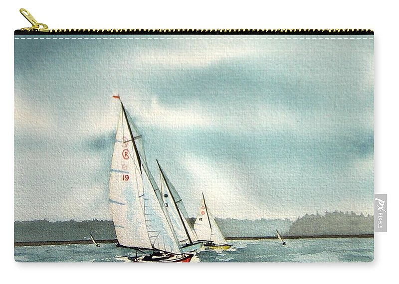 Sailing Carry-all Pouch featuring the painting The Race by Gale Cochran-Smith