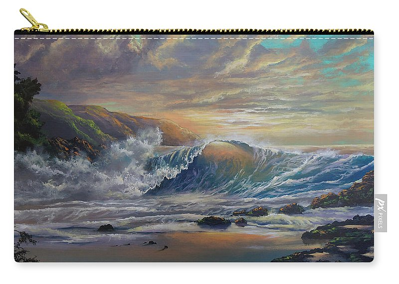 Seascape Carry-all Pouch featuring the painting The Radiant Sea by Marco Antonio Aguilar