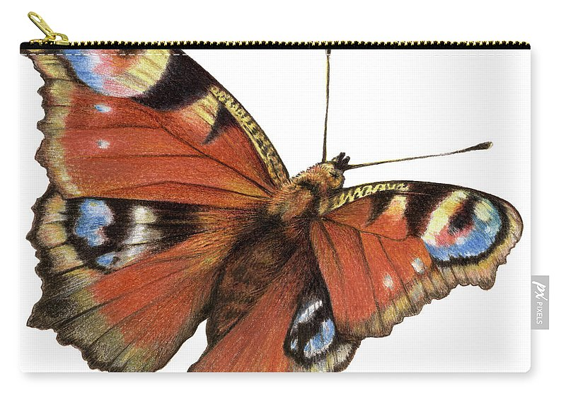 Butterfly Carry-all Pouch featuring the painting The Rainbow Of The Peacock by Johannes Margreiter