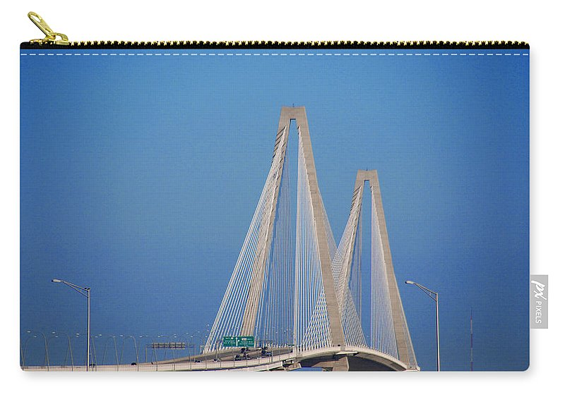 Photography Carry-all Pouch featuring the photograph The Ravanel Bridge In Charleston by Susanne Van Hulst