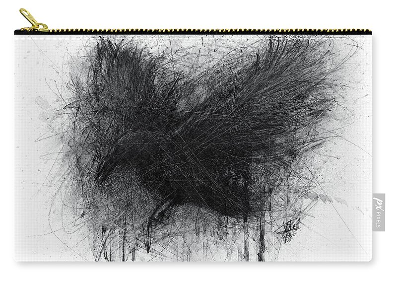 Raven Carry-all Pouch featuring the drawing The Raven by Christian Klute
