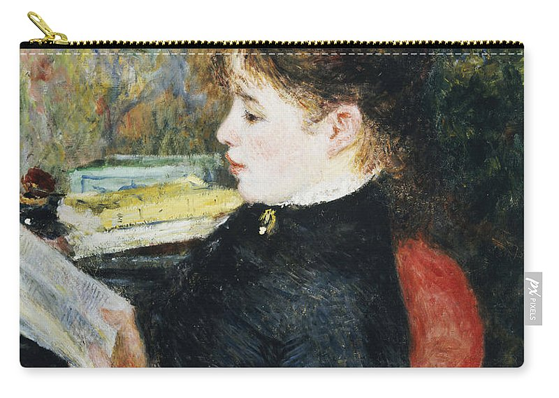 Impressionist; Impressionism; Portrait; Female; Seated; Sitting; Reading; Chair; Book Carry-all Pouch featuring the painting The Reader by Pierre Auguste Renoir