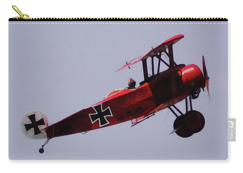 Triplane Carry-all Pouch featuring the digital art The Red Baron by DigiArt Diaries by Vicky B Fuller