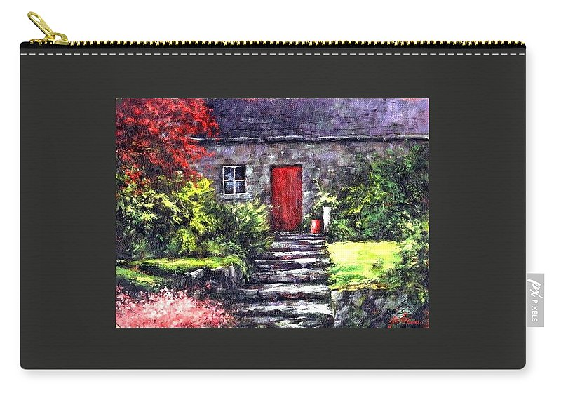 Ireland Carry-all Pouch featuring the painting The Red Door by Jim Gola