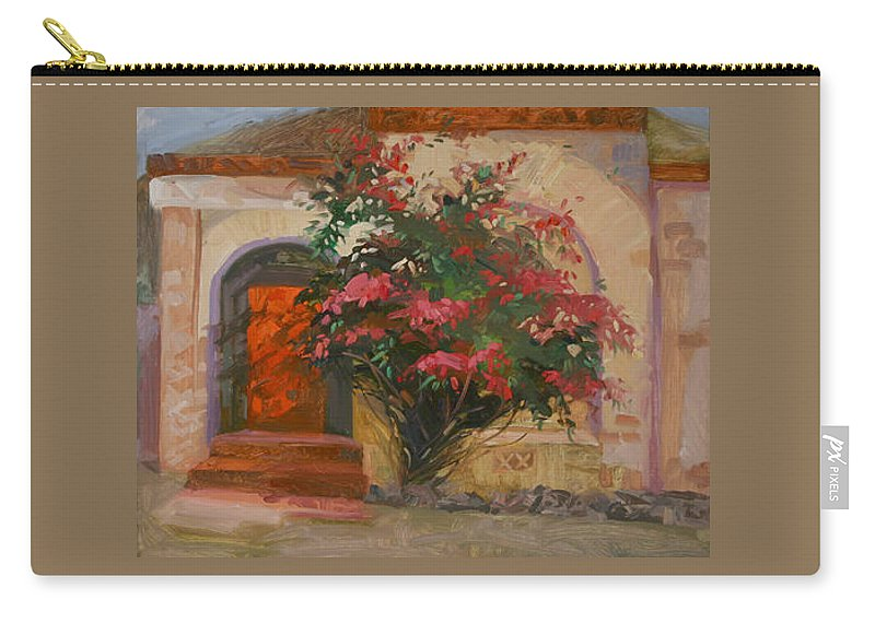 Catalina Island Ca Carry-all Pouch featuring the painting The Red Door - Catalina Island by Betty Jean Billups