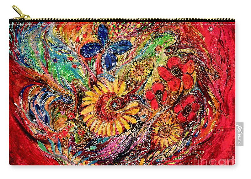 Original Carry-all Pouch featuring the painting The Red On Red by Elena Kotliarker