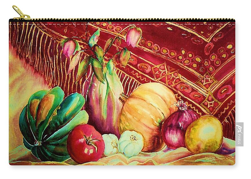 Reds Carry-all Pouch featuring the painting The Red Shawl by Carole Spandau
