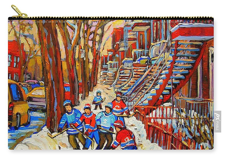 Carry-all Pouch featuring the painting The Red Staircase Painting By Montreal Streetscene Artist Carole Spandau by Carole Spandau