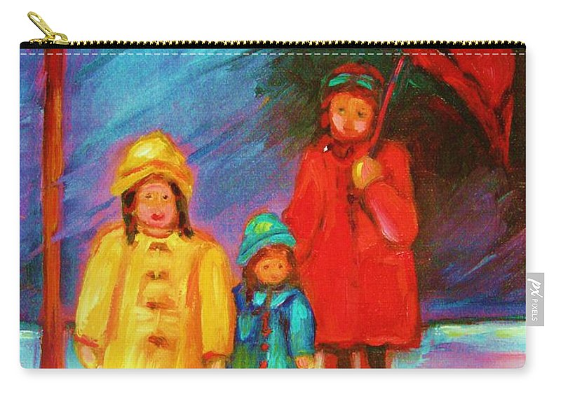 Rainy Day Carry-all Pouch featuring the painting The Red Umbrella by Carole Spandau
