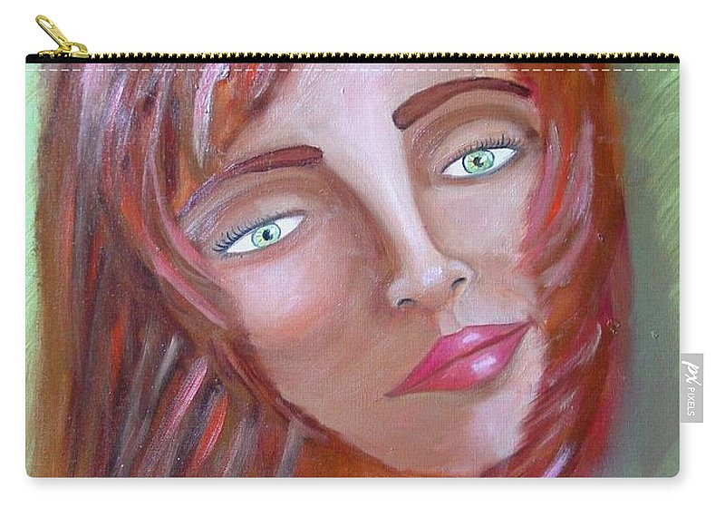 Redheads Carry-all Pouch featuring the painting The Redhead by Laurie Morgan
