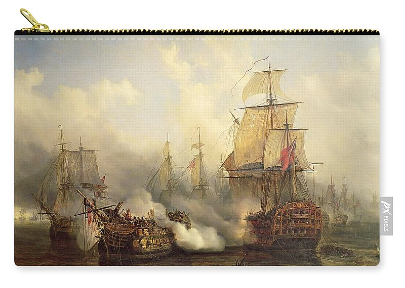 The Carry-all Pouch featuring the painting Unknown Title Sea Battle by Auguste Etienne Francois Mayer